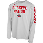 Nike Youth Ohio State Buckeyes 'Buckeye Nation' Bench Legend Long Sleeve White T-Shirt