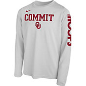 Nike Youth Oklahoma Sooners 'Commit' Bench Legend Long Sleeve White T-Shirt
