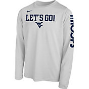 Nike Youth West Virginia Mountaineers 'Let's Go!' Bench Legend Long Sleeve White T-Shirt
